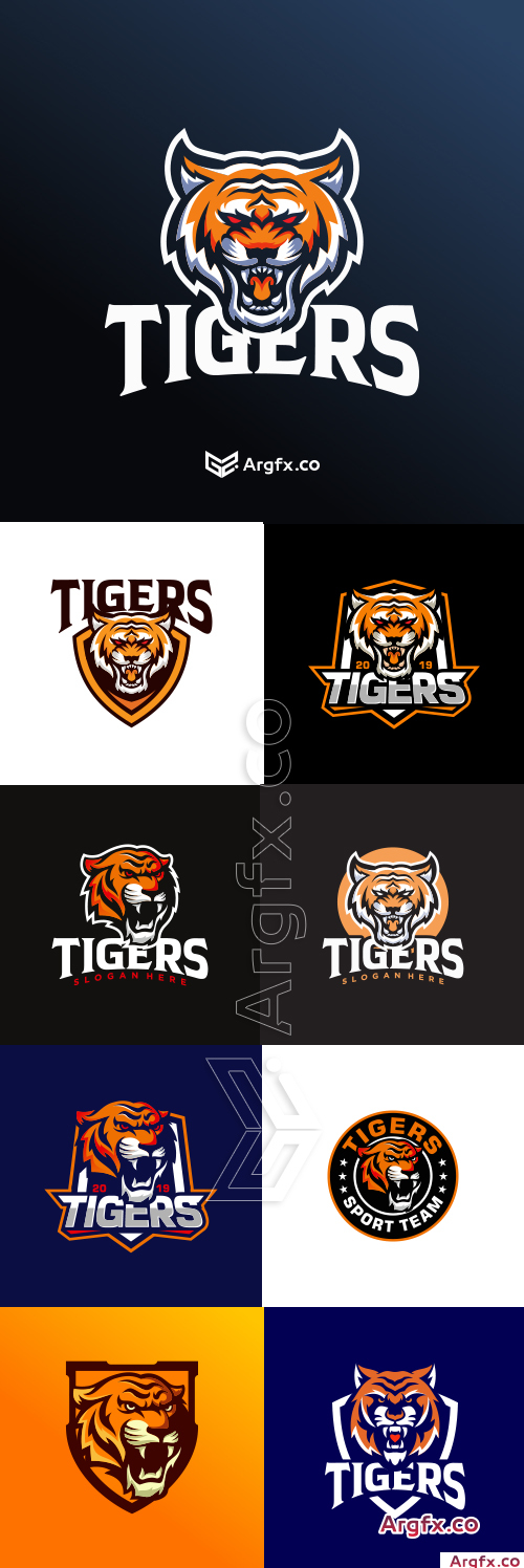 Tigers logo collection vector illustration