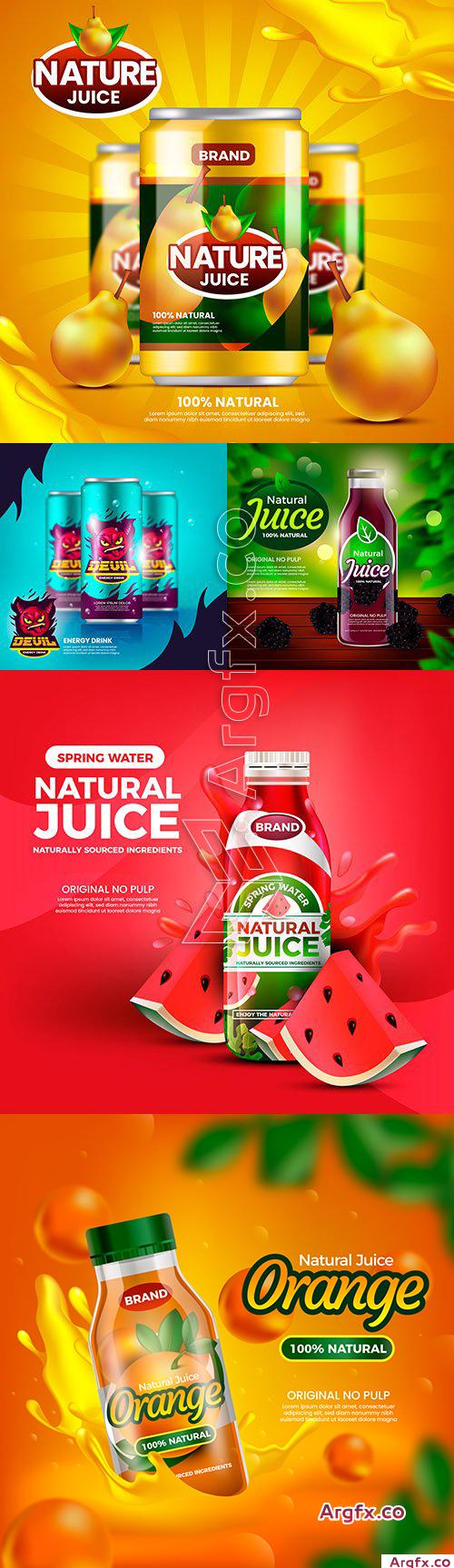 Natural fruit juice and energetic beverage illustration