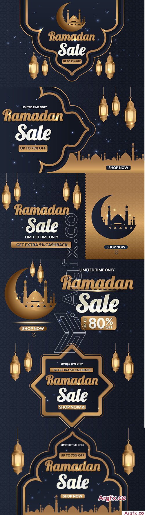Ramadan Sale Banner Social Media Post Set