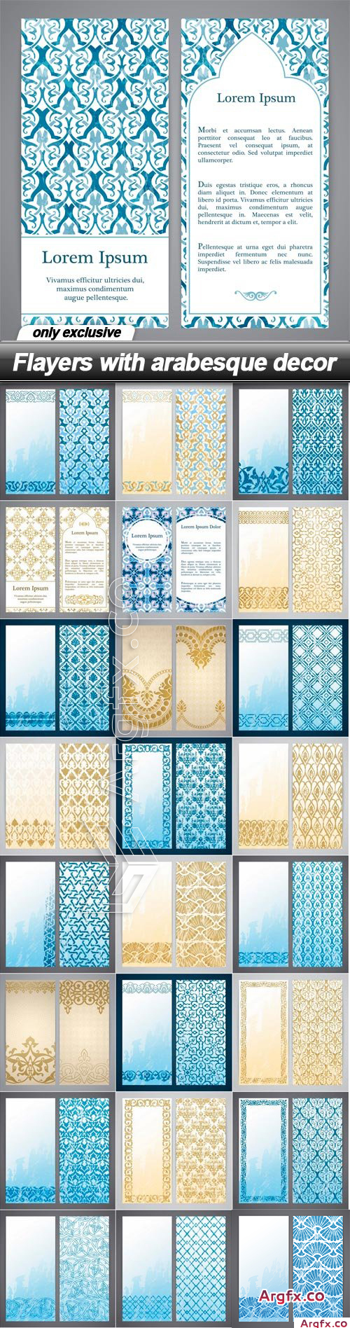 Flayers with arabesque decor - 25 EPS