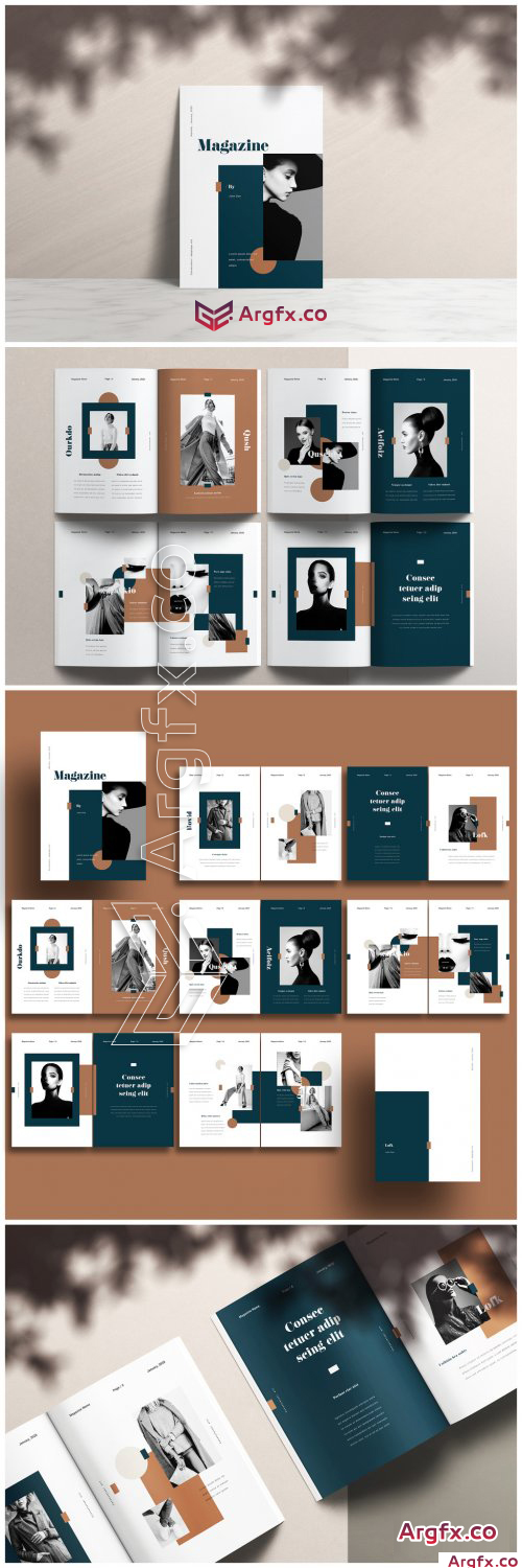 Creative Magazine Layout with Dark Green and Brown Accents 317277841